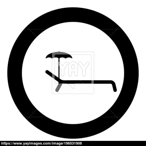 Beach Chair Icon Black Color In Circle Or Round Vector
