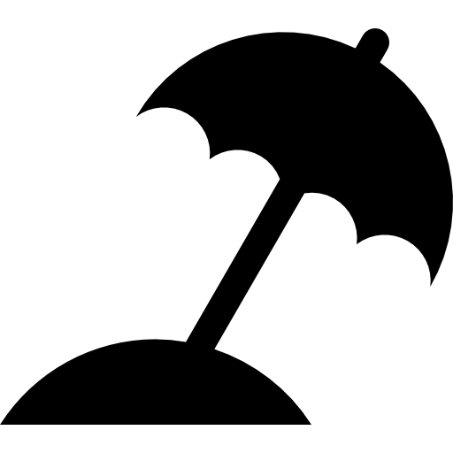 Beach Umbrella Black Silhouette Icons Free Download
