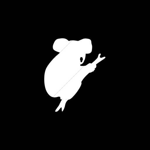 Flat Circle White On Black Animals Koala Bear Icon