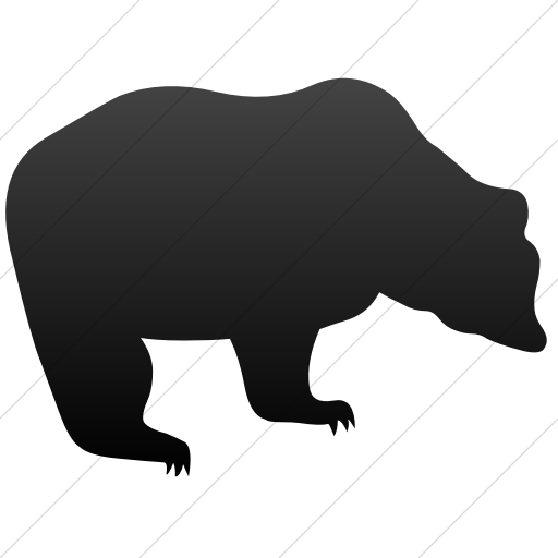 Simple Black Gradient Animals Bear Icon