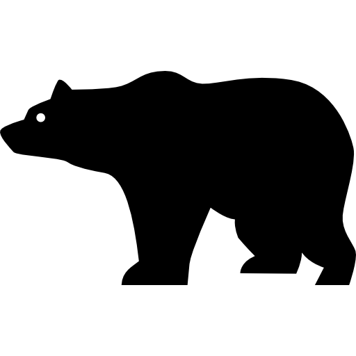 Bear Side View Silhouette Icons Free Download