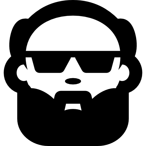 Bald Man Face With Beard And Sunglasses