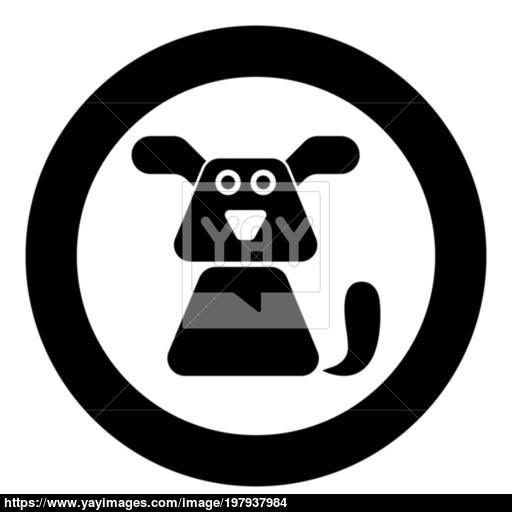 Dog Icon Black Color Vector Illustration Simple Image Vector