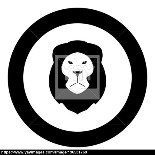 Lion Head Icon Black Color In Circle Or Round Vector