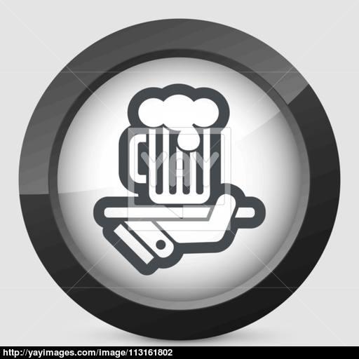 Waiter Serving Beer Icon Vector