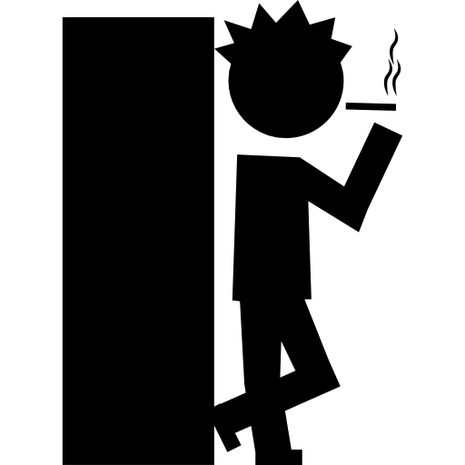 Student Smoking Before Entering To The Class Icons Free Download