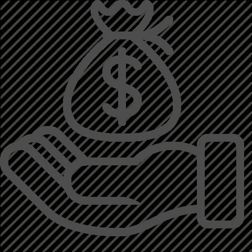 Begging, Bribe, Finance, Hand, Loan, Money Bag Icon