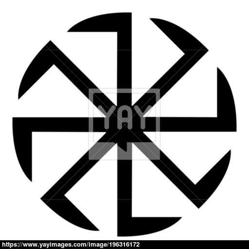 Slavic Slavonis Symbol Kolovrat Sign Sun Icon Black Color
