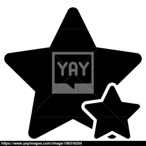 Two Star Best Of The Best Icon Black Color Illustration Flat Style