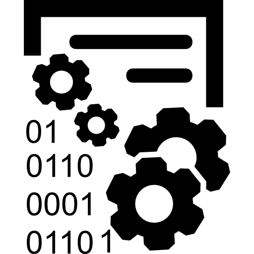 Data Management Interface Symbol With Gears And Binary Code