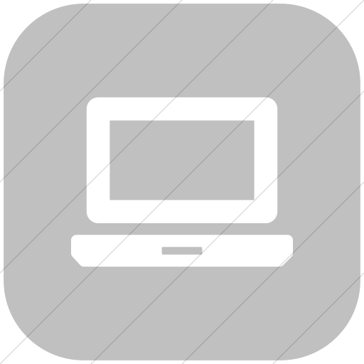 Flat Rounded Square White On Silver Foundation Laptop
