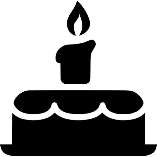 Black Birthday Cake Icon