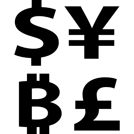 Bitcoin Currency Symbol With Dollar Yens And Pounds Signs