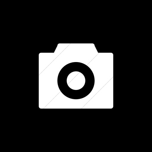 Flat Square White On Black Broccolidry Camera Icon