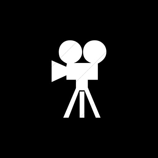 Flat Square White On Black Classica Movie Camera Icon