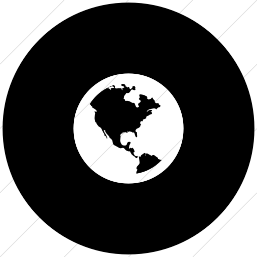 Flat Circle White On Black Bootstrap Font Awesome Globe