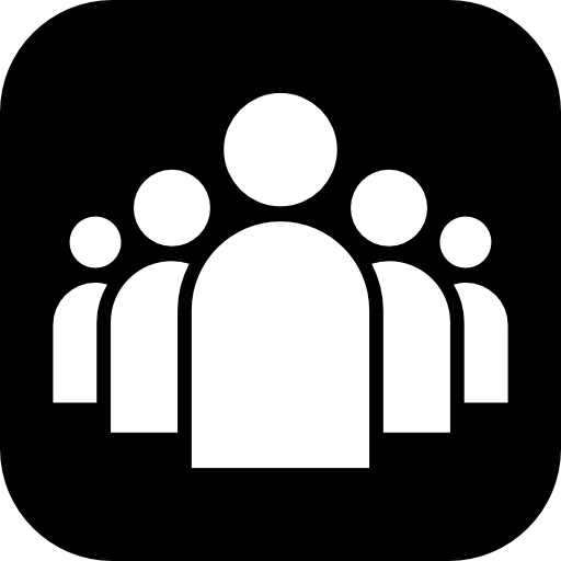 Group Of People In White A Black Rounded Square