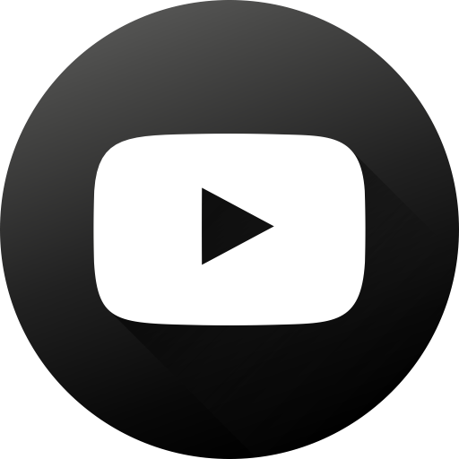 Social, Youtube, Long Shadow, High Quality, Black White, Circle