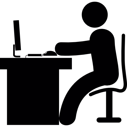 Man In Office Desk With Computer Icons Free Download
