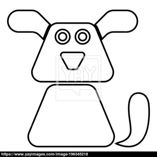 Dog Icon Black Color Illustration Flat Style Simple Image Vector
