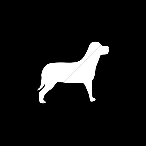 Flat Circle White On Black Animals Dog Icon