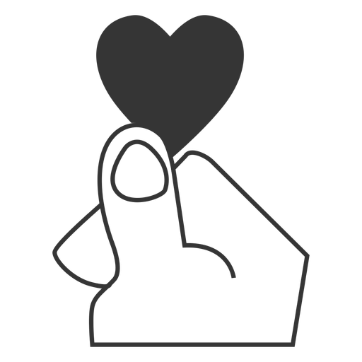 Finger Heart Line Style Icon