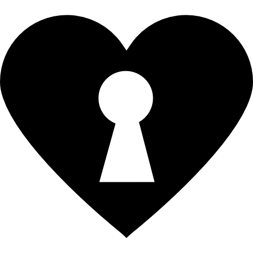 Keyhole In Black Heart Icons Free Download