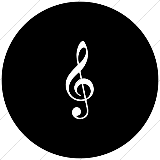 Flat Circle White On Black Classica Music Cleft Icon