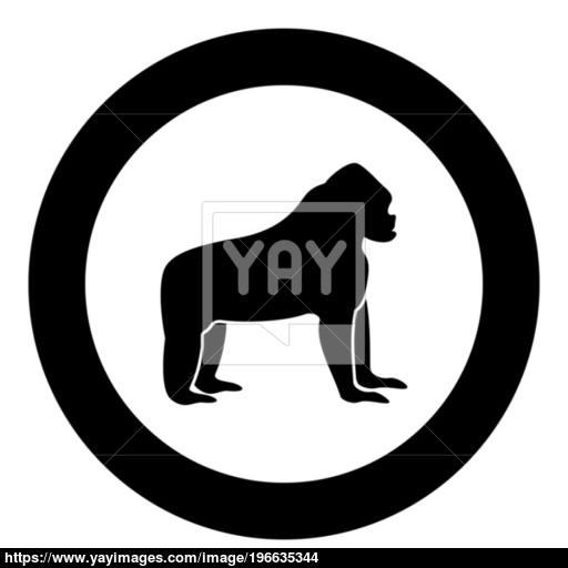 Gorilla Black Icon In Circle Vector Illustration Vector