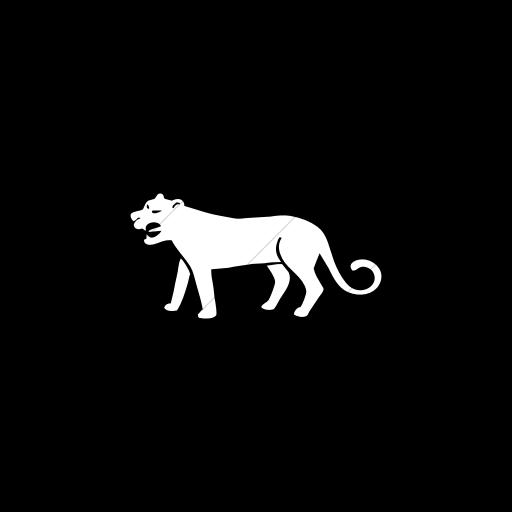 Flat Circle White On Black Animals Tiger Icon