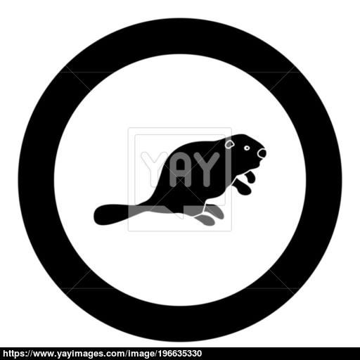 Beaver Black Icon In Circle Vector Illustration Vector