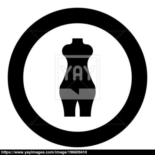 Woman Figure Icon Black Color In Circle Vector