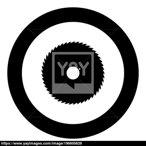 Circular Saw Blade Black Icon In Circle Vector Illustration