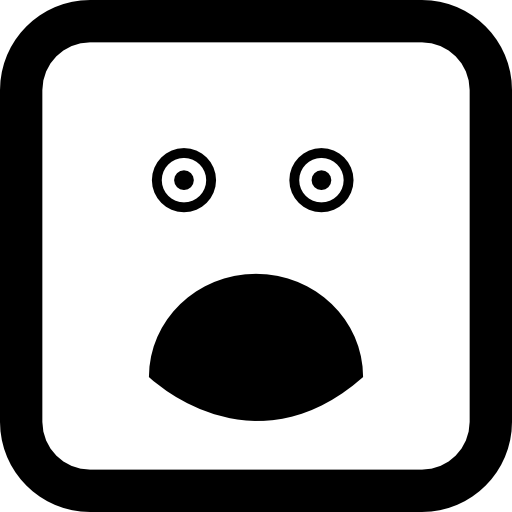 Surprised Rounded Square Face Icons Free Download