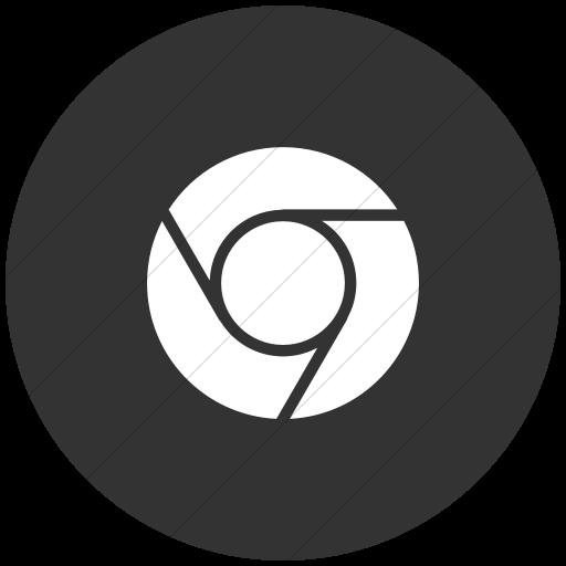 Flat Circle White On Dark Gray Raphael Chrome Icon
