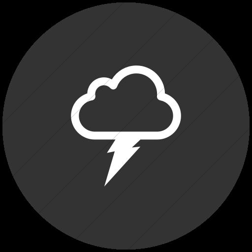 Flat Circle White On Dark Gray Raphael Thunder Cloud Icon