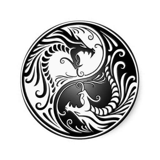 Yin Yang Dragons Classic Round Sticker Magickal