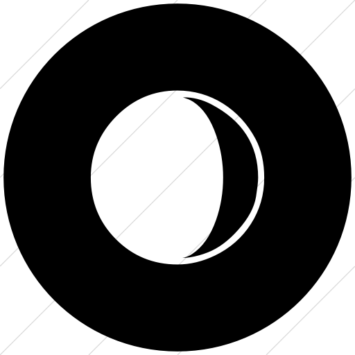 Flat Circle White On Black Classica Waxing Crescent