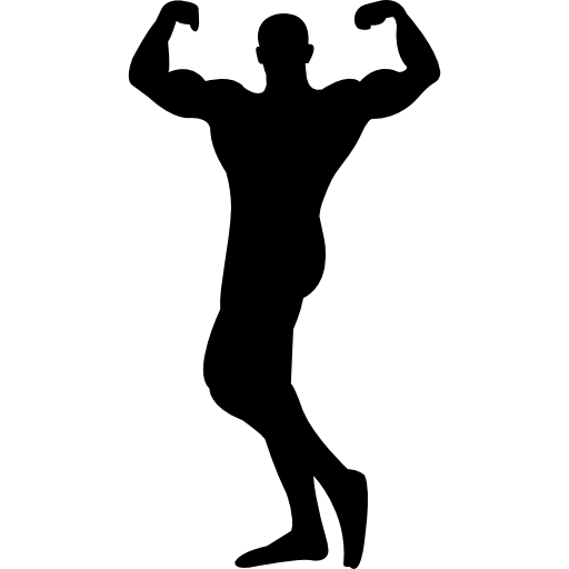 Male Bodybuilder Silhouette Flexing Muscles Icons Free Download