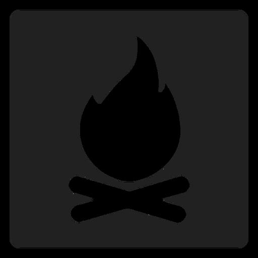 Camping Bonfire Square Icon