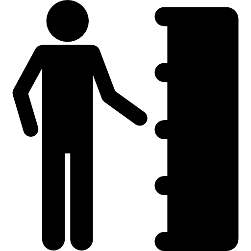 Silhouette In Front Of Bookcase Icons Free Download
