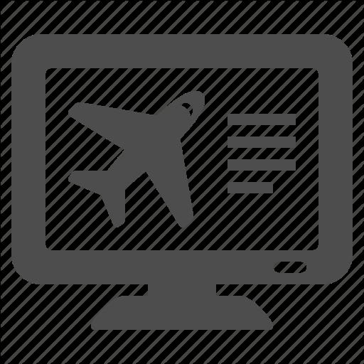 Booking, Computer, Flight, Online, Plane, Screen, Travel Icon
