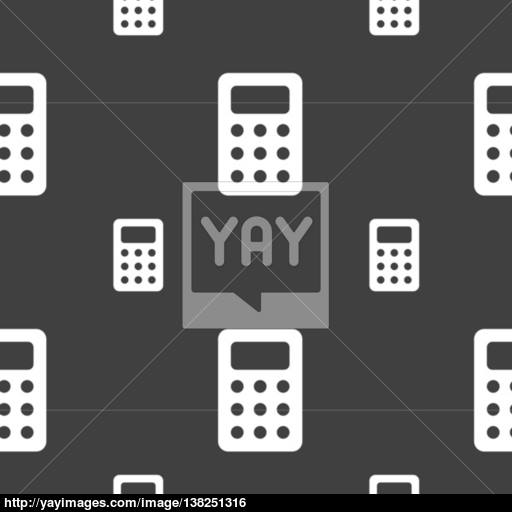 Calculator, Bookkeeping Icon Sign Seamless Pattern On A Gray