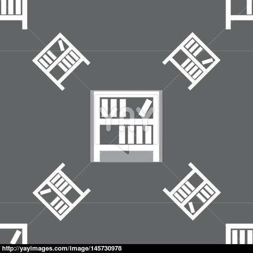 Bookshelf Icon Sign Seamless Pattern On A Gray Background Vector