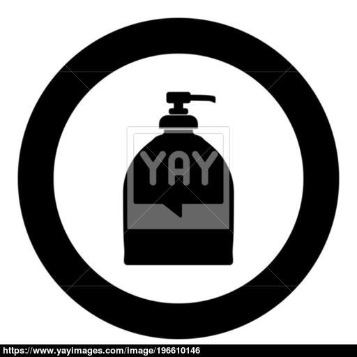 Bottle Of Liquid Soap Icon Black Color In Circle Vector