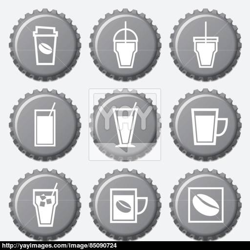 Coffee Cup Icons On Bottle Cap Set Vector