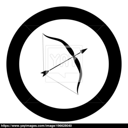 Bow And Arrow Icon Black Color In Circle Vector
