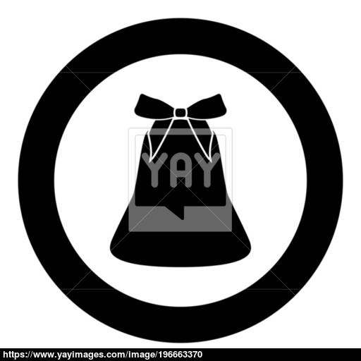 Bell With Bow Ribbon Black Icon In Circle Vector