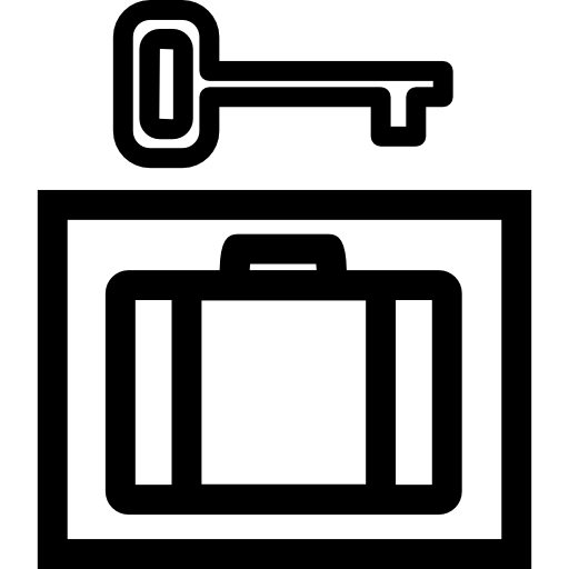 Private Baggage Box With Key Icons Free Download