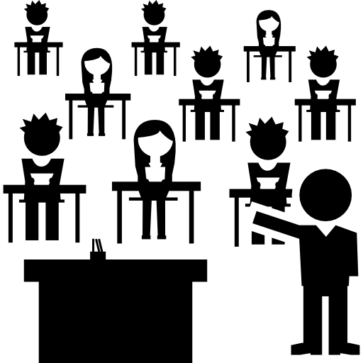 Classroom With Students Group And The Teacher Icons Free Download